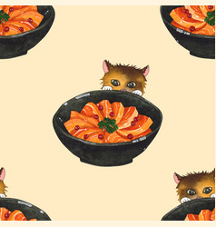 Salmon cat ivory beige background vector