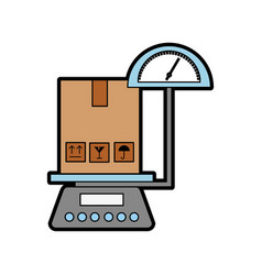 scale with box carton delivery icon vector image
