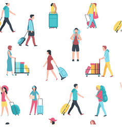 seamless pattern with travel people airport vector image