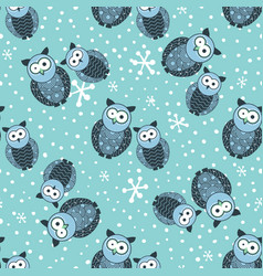 seamless winter pattern with cute owls and snow vector image