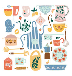 set ceramic kitchen utensils and tools in flat vector image