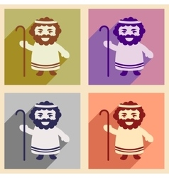 Set flat icons with long shadow Father of Jesus vector