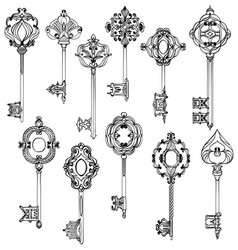 set of beautiful vintage keys black and white vector image