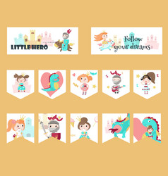 set of cards with medieval knight princess vector image
