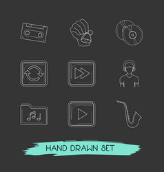 set of melody icons line style symbols with hand vector image