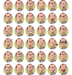 set of senior white businessman emojis vector image