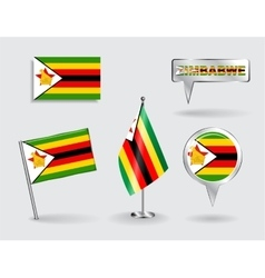 Set of Zimbabwean pin icon and map pointer flags vector image