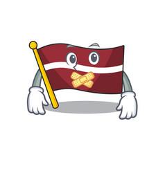Silent cartoon flag latvia in with mascot vector