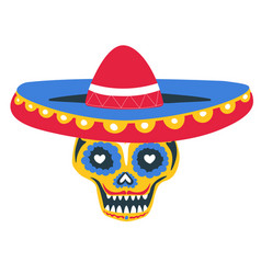 skull with sombrero and paint day dead vector image