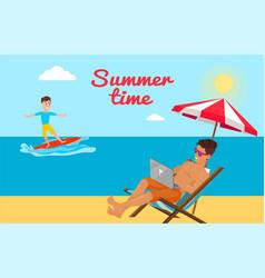 summer time poster freelancer working on laptop vector image