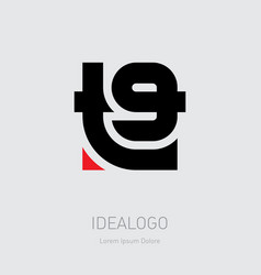T9 - logo design element or icon monogram t and 9 vector
