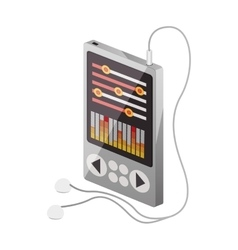 Tech portable music device with headphones vector