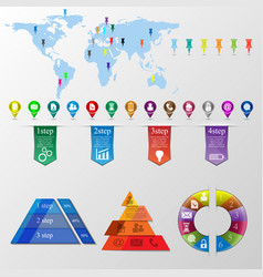 the set of info graphic elements vector image