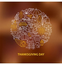 Thin Line Thanksgiving Day Holiday Icons Set vector