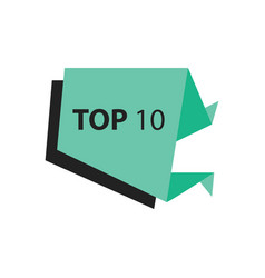 Top10 text in label black green vector
