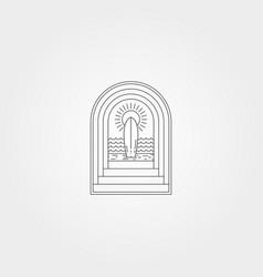 Tropical beach surf logo symbol with door line vector