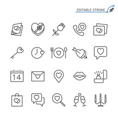 valentines day line icons editable stroke vector image