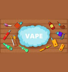 Vaping tools banner horizontal cartoon style vector