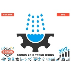Water shower service gear flat icon with 2017 vector