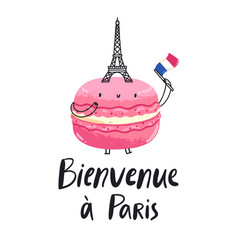 Welcome to paris macaron character vector