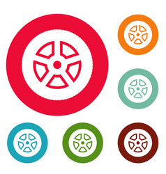Wheel icons circle set vector