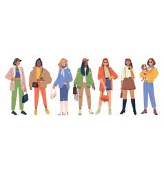 Women fashion cloth autumn spring collection set vector