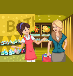 women in a soap store vector image