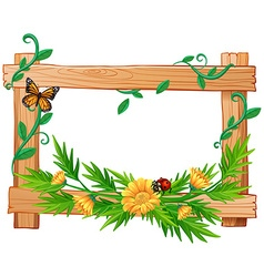 Wooden frame with flowers and insects vector image
