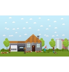 Big vacation home with green garden and garage vector image