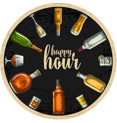 Coaster with bottle and glass with beer whiskey vector