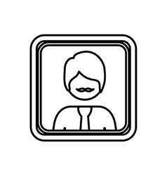 contour square border with silhouette half body vector image