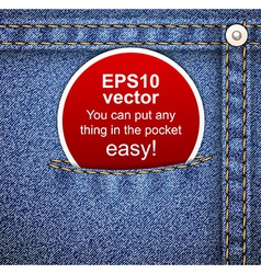 Denim background with tag vector image vector image