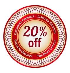 Label on 20 percent discount vector image vector image