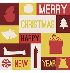 Retro christmas card with various seasonal shapes vector