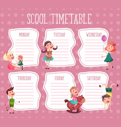 school timetable education diary for pupil vector image