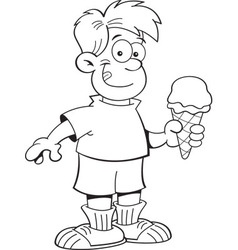 Cartoon boy holding an ice cream cone vector image vector image