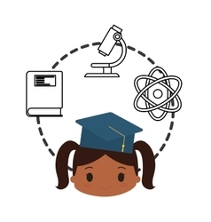 cartoon girl cap graduation school chemistry vector image vector image