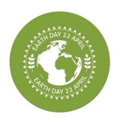 Earth symbol on green background vector image