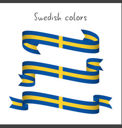 set of three ribbons with the swedish colors vector image vector image
