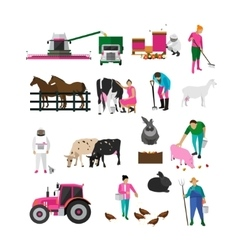 Set of village people flat design isolated vector image