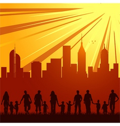 urban city family silhouettes vector image vector image