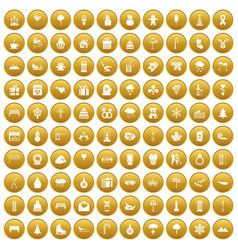 100 winter holidays icons set gold vector image vector image