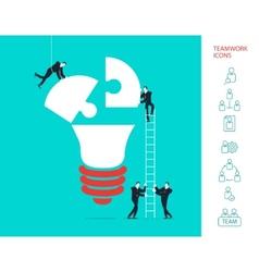Flat design concept of team work vector image