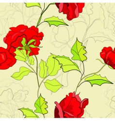 seamless wallpaper with red roses vector image vector image