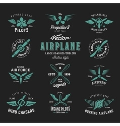 Vintage Airplane Labels Set with Retro vector image vector image