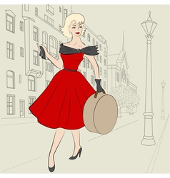 woman in europe in 50s vector image