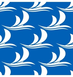 Yacht sailing on a wave seamless pattern vector image