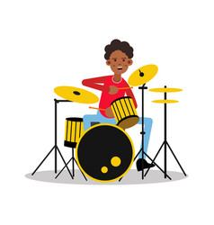 Young black mucisian man playing on drum kit vector