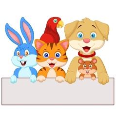 Cartoon pet animals holding blank paper vector image