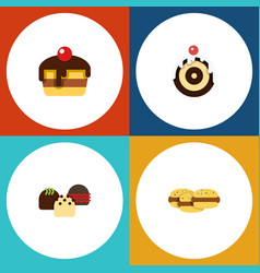 flat cake set of cake pastry biscuit and other vector image